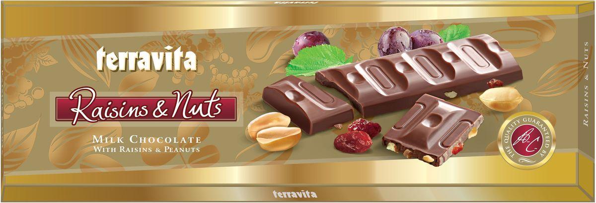 Terravita Шоколад молочный с изюмом и арахисом, 225 г