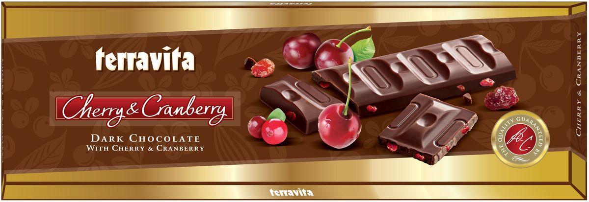 Terravita Шоколад темный с кусочками вишни и клюквы, 225 г