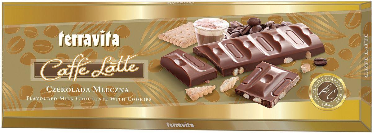 Terravita Шоколад молочный со вкусом кофе-лате с кусочками печенья, 225 г