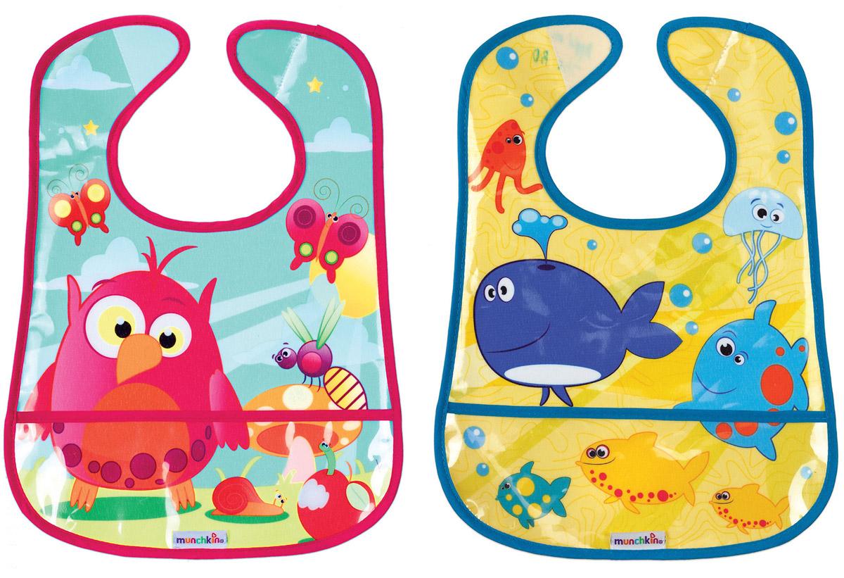 Munchkin набор нагрудников с кармашком для крошек 2 шт11536_попугай, кит