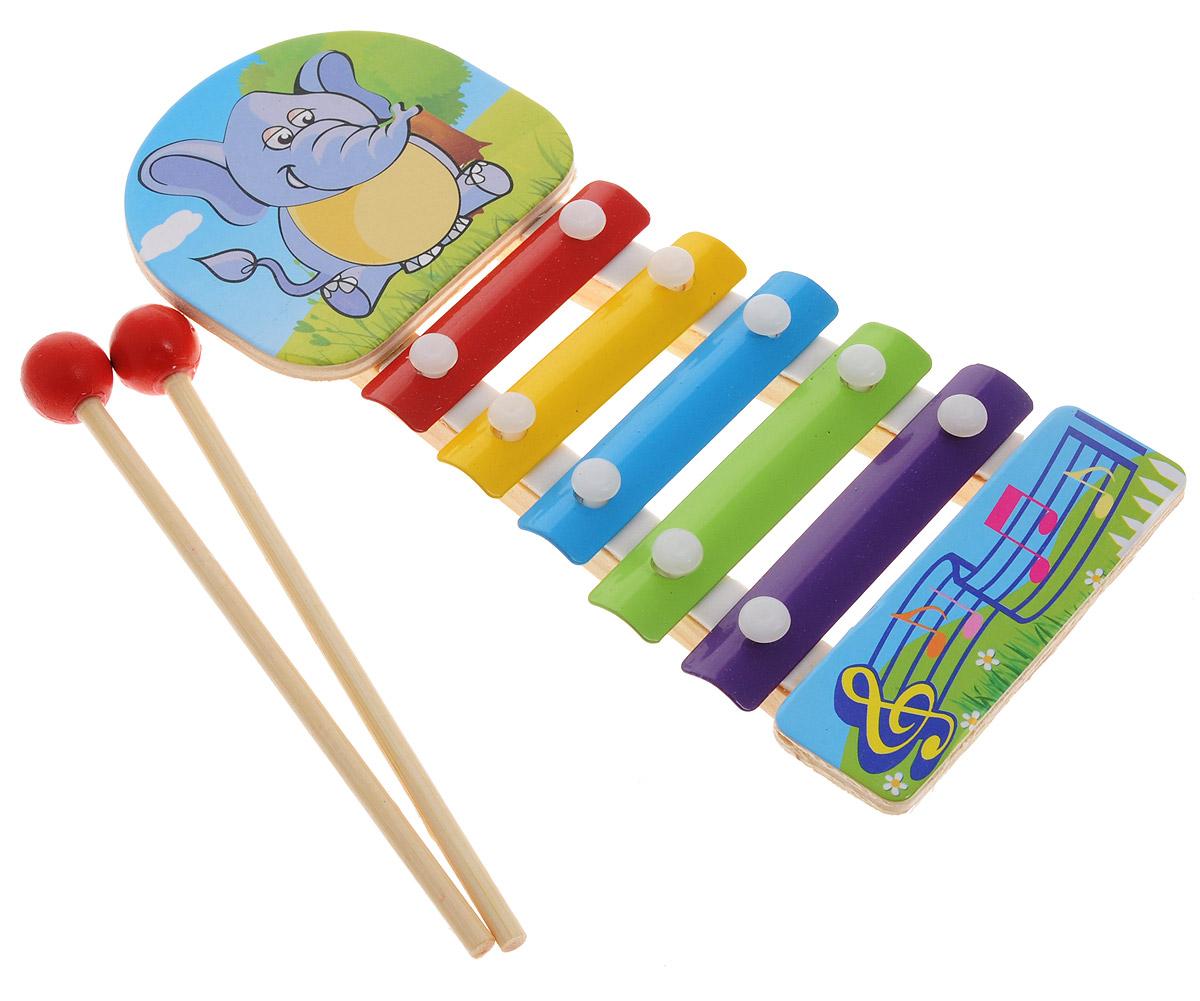 ABtoys Ксилофон СлонD-00042Ксилофон ABtoys Слон непременно порадует маленького музыканта. Инструмент создан из современных и экологически безопасных материалов. Игрушка имеет яркий цвет и обязательно привлечет внимание малыша. Ксилофон украшен изображением слона и имеет пять разноцветных клавиш. Палочки-молоточки позволят вашему ребенку сочинять различные мелодии. Игрушка поможет вашему ребенку развить мелкую моторику, музыкальный слух, воображение и цветовое восприятие.