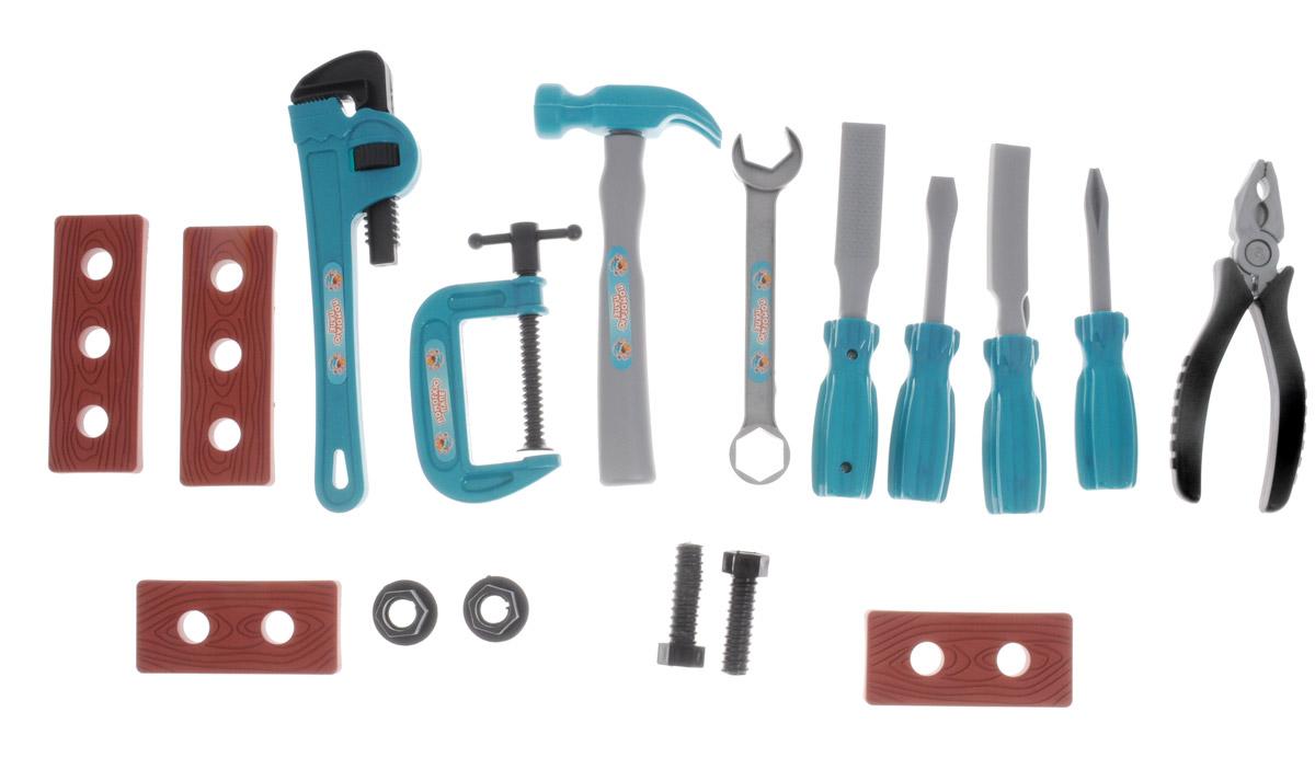 ABtoys Игрушечный набор инструментов 17 предметовPT-00346Мальчишки обожают наблюдать, когда их папы что-нибудь ремонтируют или мастерят. Дети очень хотят чем-нибудь помочь, но взрослые инструменты опасны для малыша, ими легко пораниться. Игрушечный набор инструментов ABtoys поможет малышу безопасно познакомиться с различными видами инструментов, приобрести первые навыки работы с ними и почувствовать себя настоящим маленьким мастером. Набор выполнен из высококачественного пластика и включает в себя копии реальных инструментов. Набор инструментов поможет мальчику с детства научиться быть хозяином в доме и выполнять мужскую работу. Этот набор отлично подойдет для игр ребенка дома и на свежем воздухе. Порадуйте своего юного строителя таким замечательным подарком!