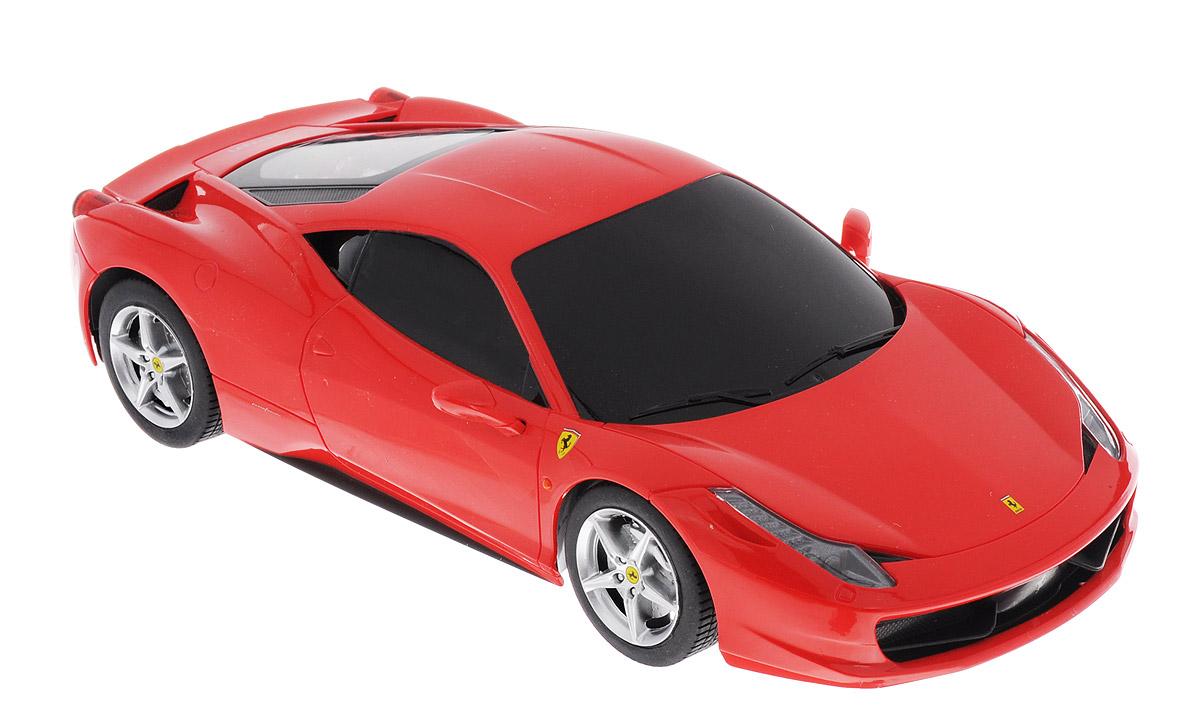 Rastar Радиоуправляемая модель Ferrari 458 Italia цвет красный масштаб 1:18 53400-1053400-10Радиоуправляемая модель Rastar Ferrari 458 Italia станет первым стильным автомобилем вашего малыша. Это точная копия настоящего авто в масштабе 1:18. Юные гонщики оценят эту машину за прекрасные технические характеристики и полную свободу передвижений в любую сторону. Моделью легко управлять и любая гонка принесет удовольствие. Управление машинкой происходит с помощью удобного пульта. Автомобиль двигается вперед и назад, поворачивает направо, налево и останавливается. Имеются звуковые эффекты. Автомобиль изготовлен из пластика с металлическими элементами. Колеса игрушки прорезинены и обеспечивают плавный ход, машинка не портит напольное покрытие. Пульт управления работает на частоте 27 MHz. Радиоуправляемые игрушки способствуют развитию координации движений, моторики и ловкости. Ваш ребенок увлеченно будет играть с моделью, придумывая различные истории и устраивая соревнования. Машина работает от 4 батареек типа АА (не входят в комплект). Для работы пульта управления...