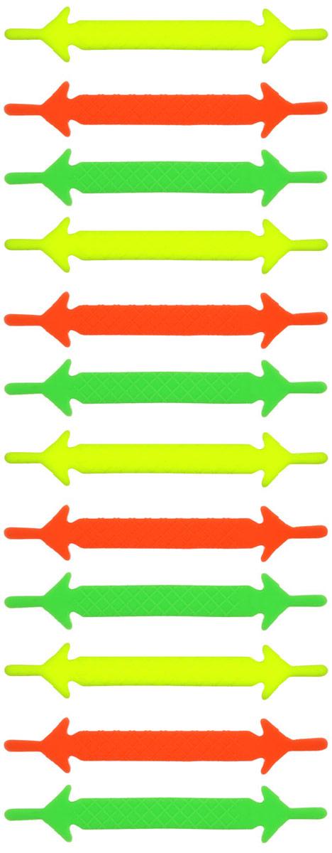 Шнурки флуоресцентные силиконовые Hilace Group, цвет: мультиколор, 12 шт2159Оригинальные силиконовые шнурки Hilace Group не оставят вас равнодушными благодаря своему яркому дизайну и практичности. Они изготовлены из качественного термостойкого силикона. Флуоресцентные шнурки светятся в темноте. Такие шнурки упростят надевание обуви и надежно зафиксируют ее без стягивания стопы, выдержат низкие и высокие температуры, подойдут как взрослым, так и детям.