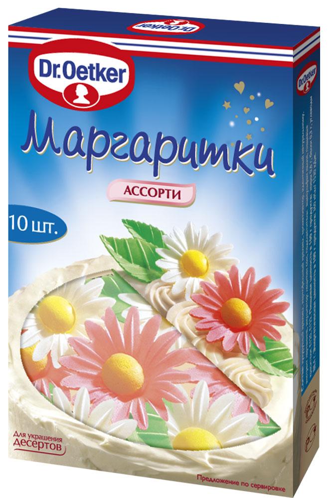 Dr.Oetker маргаритки ассорти, 4,2 г1-84-061620Декор Dr.Oetker - это самый простой и быстрый способ украсить и сделать привлекательными и яркими торты, кексы, печенье, десерты и различные виды выпечки