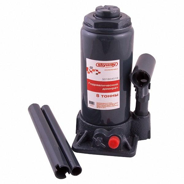 Домкрат бутылочный Skyway, гидравлический, с клапаном, 8 т, высота 200-385 мм. S01804018S01804018