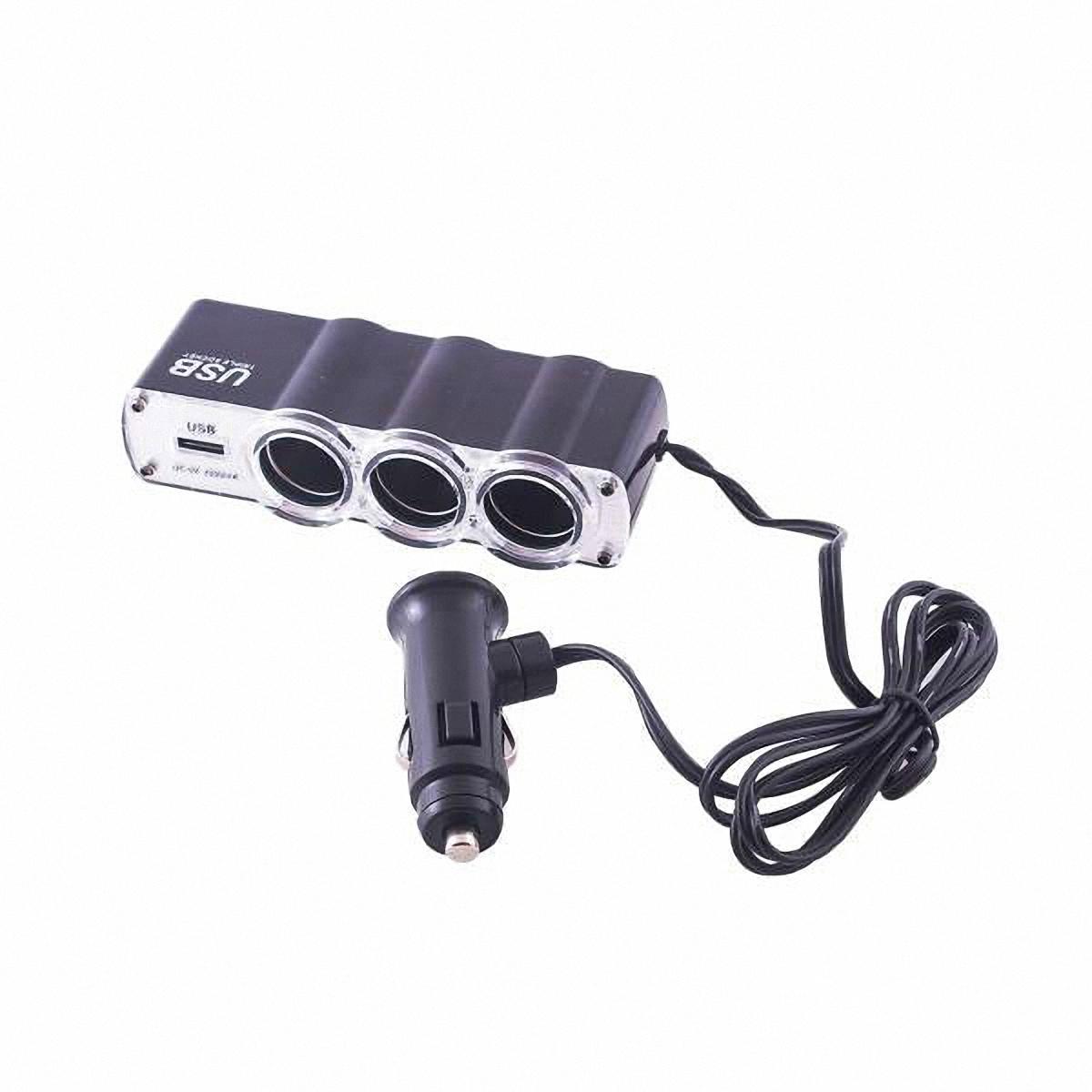 Skyway Разветвитель прикуривателя 3 гнезда + USB. S02301023