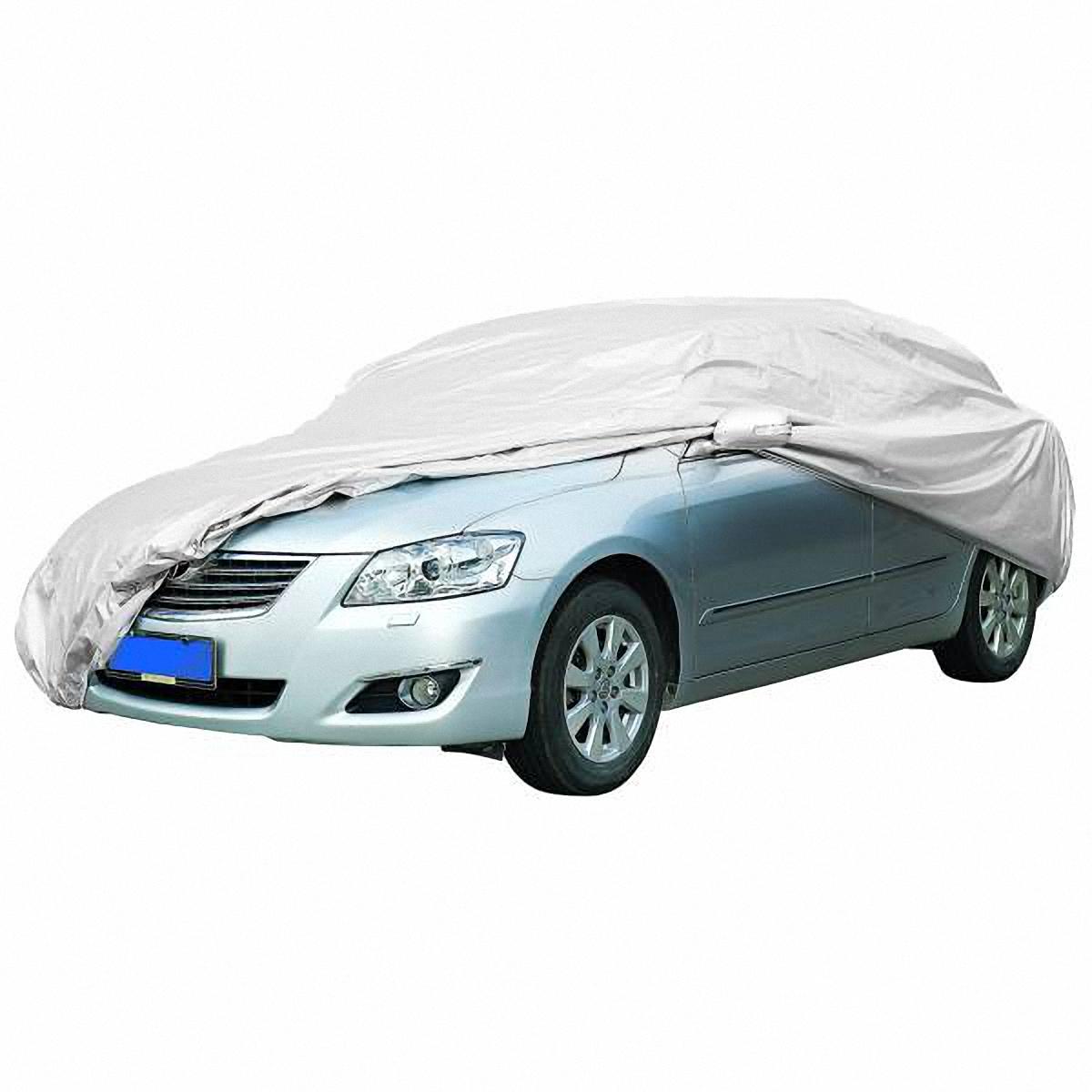 Чехол-тент автомобильный Skyway, 430 х 165 х 119 см. Размер MS04401002Тент автомобильный позволит защитить кузов вашего транспортного средства от коррозии и загрязнений во время хранения или транспортировки, а вас избавит от необходимости частого мытья вашего автомобиля. Чехол-тент предохраняет лакокрасочное покрытие кузова, стекла и фары вашего автомобиля от воздействия прямых солнечных лучей и неблагоприятных погодных условий, загрязнений. Легко и быстро надевается на автомобиль, не царапая и не повреждая его. Изготовлен из высококачественного полиэстера. В передней и задней части тента вшиты резинки, стягивающие его нижний край под передним и задним бамперами. Обладает высокой влаго- и износостойкостью. Обладает светоотражающими и пылезащитными свойствами. Выдерживает как низкие, так и высокие температуры. Воздухопроницаемый материал. Состав: полиэстер. Размер: 430 х 165 х 119 см.