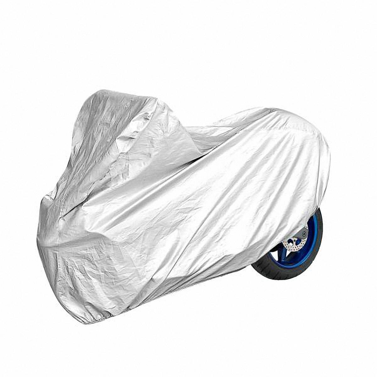 Тент на мотоцикл Skyway, 228 х 99 х 119 см. Размер LS04402002Тент на мотоцикл позволит защитить кузов и детали Вашего транспортного средства от коррозии и загрязнений во время хранения или транспортировки, а Вас избавит от необходимости его частого мытья. Чехол-тент предохраняет лакокрасочное покрытие кузова, детали и фары Вашего мотоцикла/скутера от воздействия прямых солнечных лучей и неблагоприятных погодных условий, загрязнений. Легко и быстро надевается на мотоцикл или скутер, не царапая и не повреждая его. Основные характеристики чехла-тента SKYWAY: Изготовлен из высококачественного полиэстера. В передней и задней части тента вшиты резинки, стягивающие его нижний край под передним и задним бамперами. Обладает высокой влаго- и износостойкостью. Обладает светоотражающими и пылезащитными свойствами. Выдерживает как низкие, так и высокие температуры. Воздухопроницаемый материал.Состав: полиэстер.
