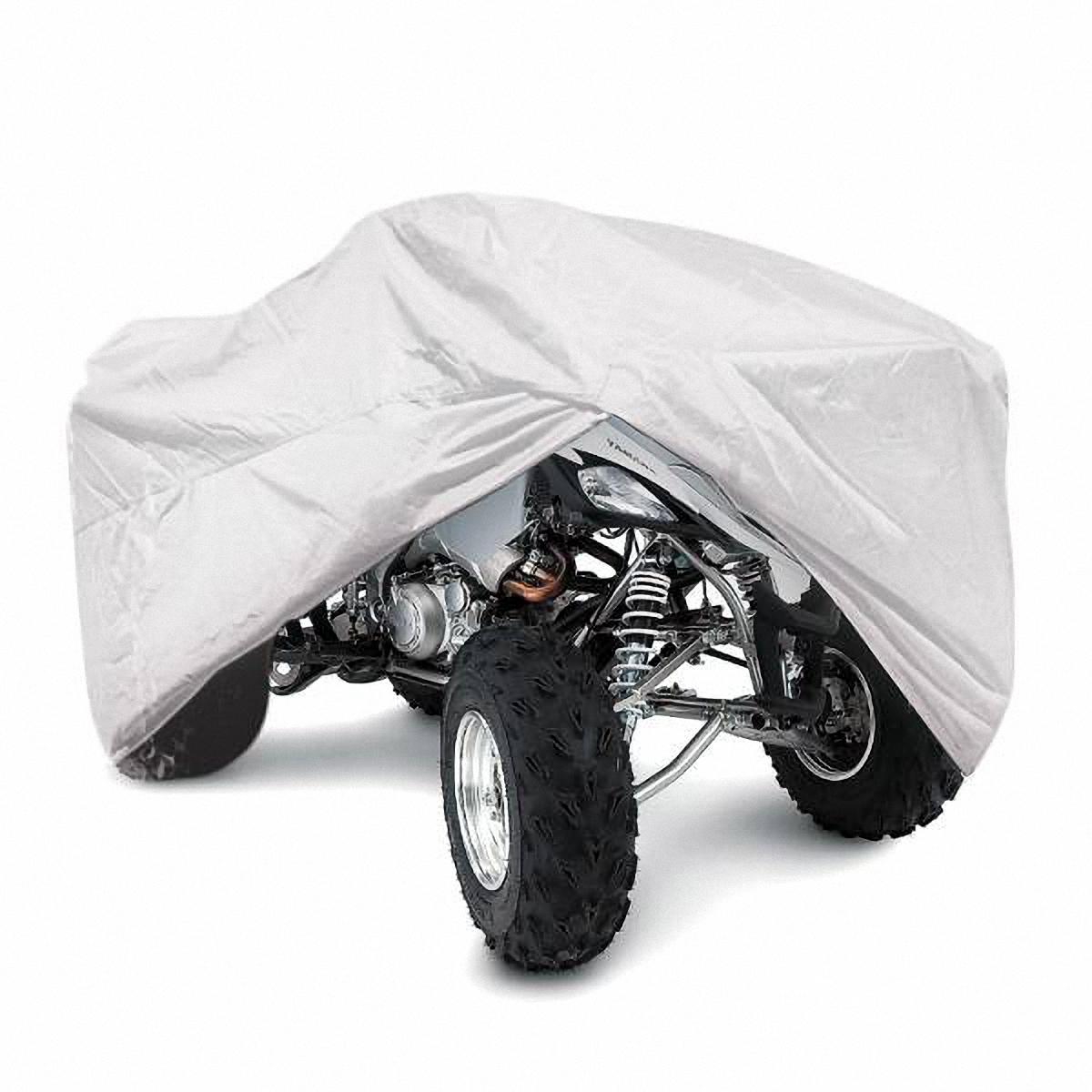 Тент на квадроцикл Skyway, 208 х 120 х 85 см. Размер MS04403001Тент на квадроцикл позволит защитить кузов Вашего транспортного средства от коррозии и загрязнений во время хранения или транспортировки, а Вас избавит от необходимости его частого мытья.Чехол-тент предохраняет лакокрасочное покрытие кузова, детали и фары Вашего квадроцикла от воздействия прямых солнечных лучей и неблагоприятных погодных условий, загрязнений. Легко и быстро надевается на квадроцикл, не царапая и не повреждая его. Основные характеристики чехла-тента SKYWAY: Изготовлен из высококачественного полиэстера. В передней и задней части тента вшиты резинки, стягивающие его нижний край под передним и задним бамперами. Обладает высокой влаго- и износостойкостью. Обладает светоотражающими и пылезащитными свойствами. Выдерживает как низкие, так и высокие температуры. Воздухопроницаемый материал.Состав: полиэстер.