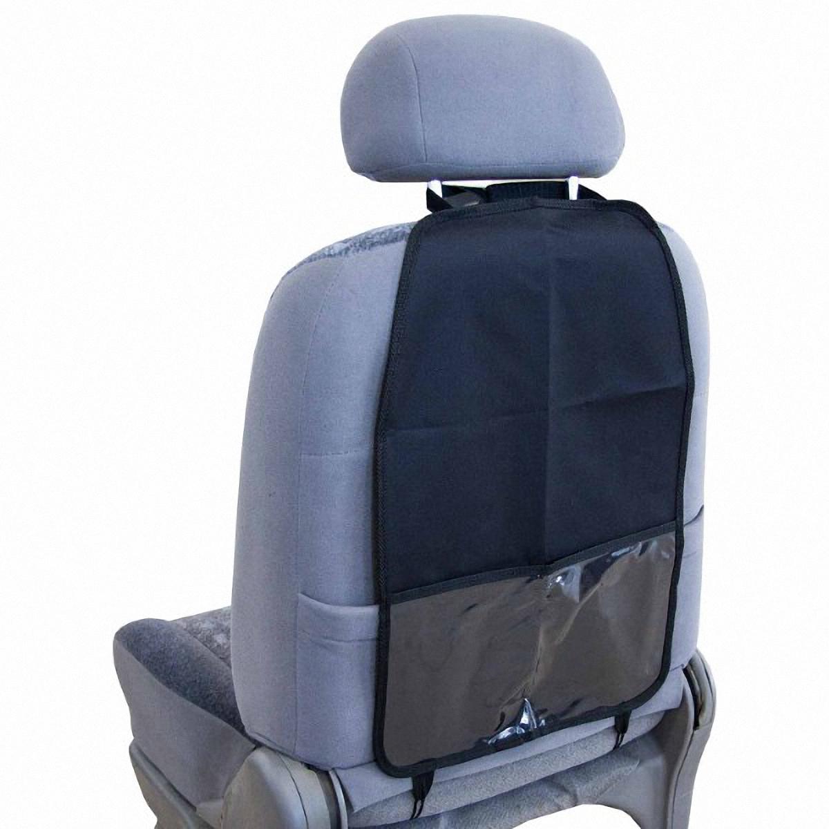Накидка защитная Skyway, на спинку сидения, 37 х 55 смS06101007Защита спинки сидения Skyway совмещает в себе функции органайзера и защиты спинки сиденья. Позволяет компактно разместить все необходимые автомобилисту инструменты и аксессуары: от отвертки до детских книг. При этом надежно защищает сиденье от загрязнений и повреждений. Органайзер оснащен карманом, изготовлен из водонепроницаемого и прочного материала. Легко устанавливается и не требует дополнительного ухода. Размер изделия: 37 х 55 см.