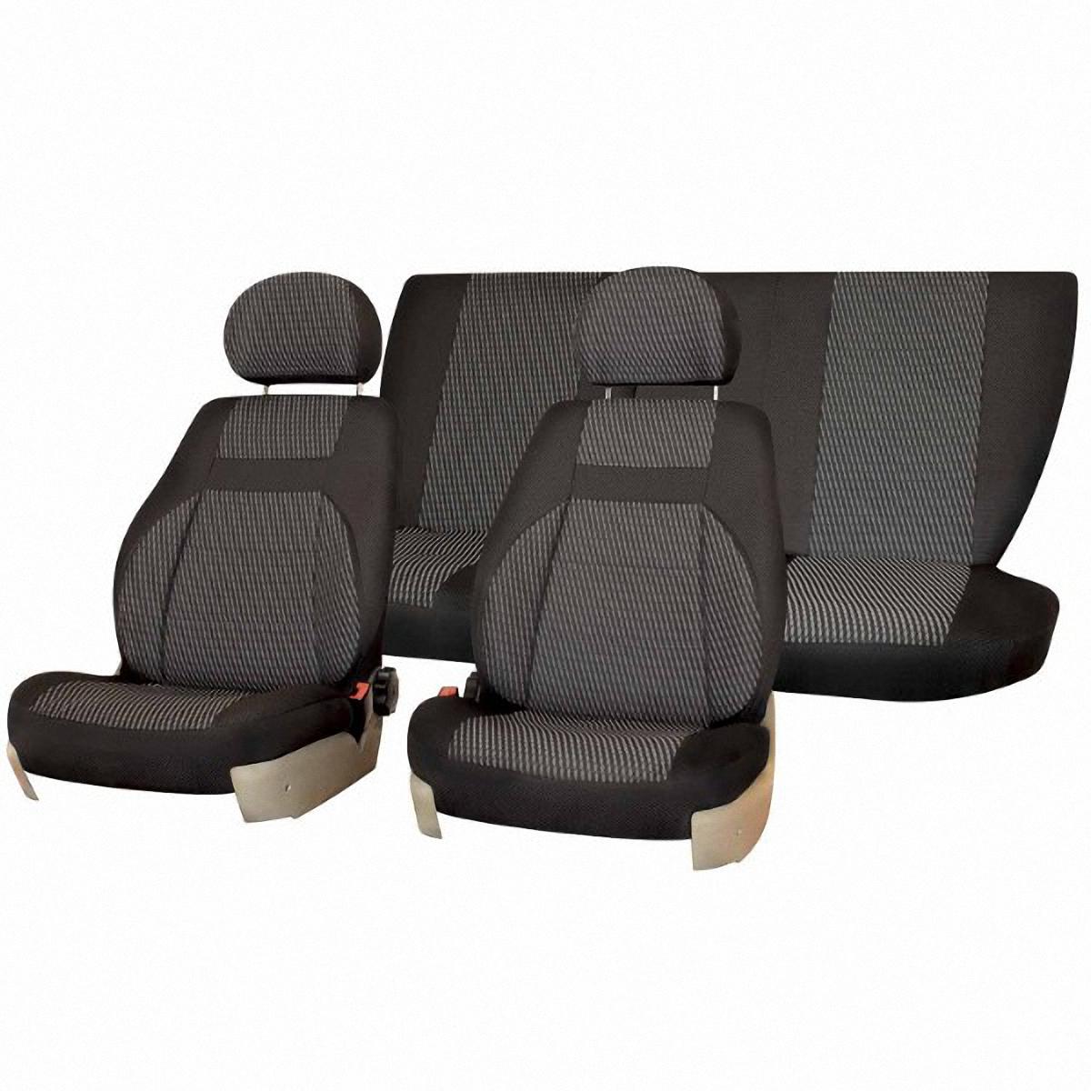 Чехлы автомобильные Skyway, для Lada Kalina 2004-2013, цвет: темно-серыйV003-D2Автомобильные чехлы Skyway изготовлены из качественного жаккарда. Чехлы идеально повторяют штатную форму сидений и выглядят как оригинальная обивка сидений. Разработаны индивидуально для каждой модели автомобиля. Авточехлы Skyway просты в уходе - загрязнения легко удаляются влажной тканью. Чехлы имеют раздельную схему надевания. В комплекте 12 предметов.