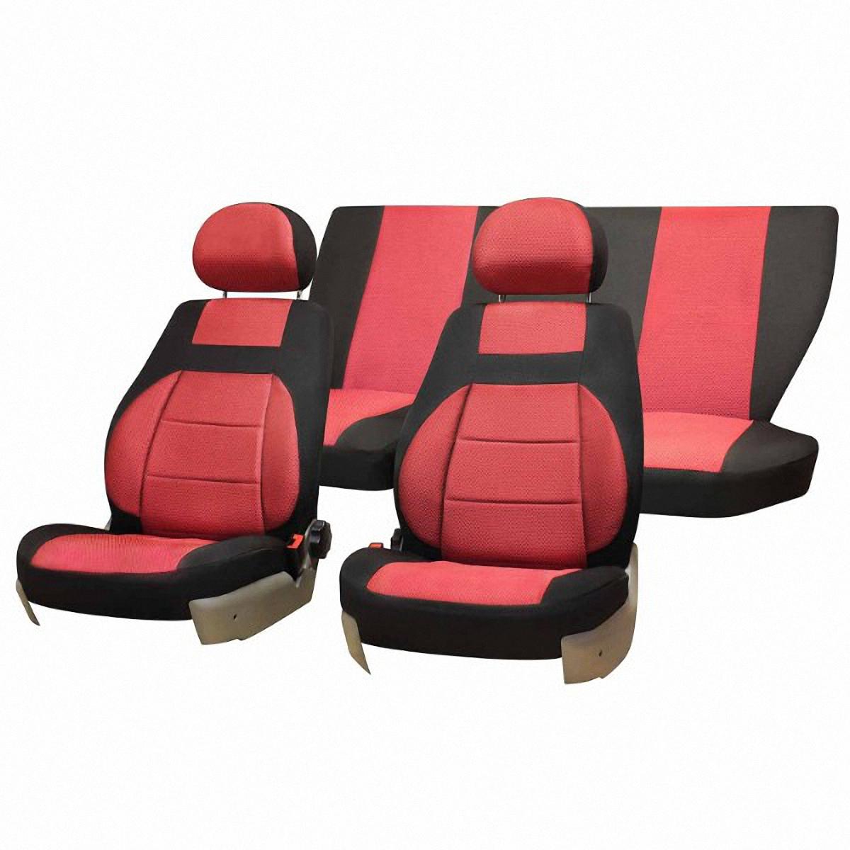 Чехлы автомобильные Skyway, для Lada Granta, цвет: красный, черныйV004-D3Автомобильные чехлы Skyway изготовлены из качественного жаккарда. Чехлы идеально повторяют штатную форму сидений и выглядят как оригинальная обивка сидений. Разработаны индивидуально для каждой модели автомобиля. Авточехлы Skyway просты в уходе - загрязнения легко удаляются влажной тканью. Чехлы имеют раздельную схему надевания. Заднее сиденье - сплошное. В комплекте 11 предметов.
