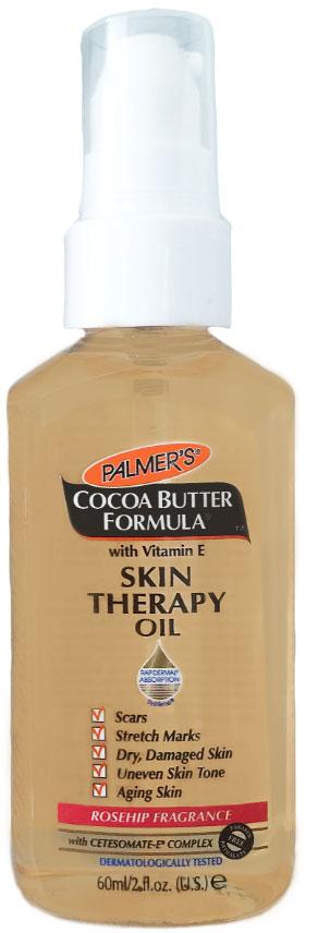 Palmers Масло интенсивного действия против растяжек с маслом какао и маслом шиповника 60 мл4158-6Масло для тела интенсивного воздействия против растяжек – многоцелевое средство, которое применяется по всему телу. Это средство, не содержащее консервантов, состоит из эксклюзивного комплекса ключевых ингредиентов: чистое Масло Какао, Витамин Е, Кунжутное масло, Масло Шиповника, которые способствуют улучшению состояния кожи, уменьшают проявления растяжек, шрамов, сухости, повреждения кожи, а также эффективно выравнивает тон кожи, сглаживает линии и морщинок на коже. Имеет уникальную текстуру «сухого» нежирного масла. После применения кожа моментально преображается, смягчается, выравнивается ее тон. Флакон имеет специальный дозатор для удобства применения.