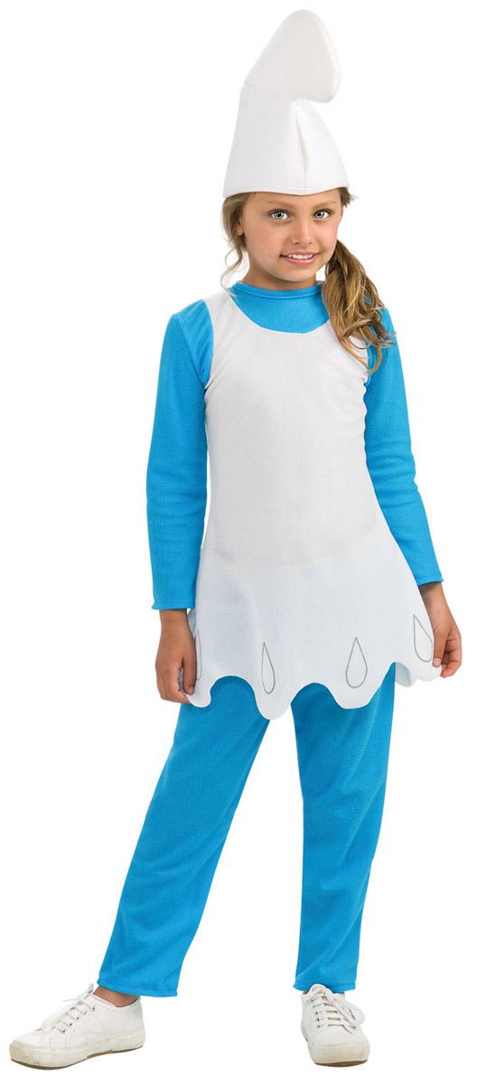 Карнавальный костюм для девочки Rubies Смурфетта, цвет: голубой, белый. Н89153. Размер 128, 7-8 летН8915Карнавальный костюм для девочки Rubies Смурфетта непременно понравится маленькой поклоннице популярного мультсериала Смурфики. Смурфики - это крохотные синие человечки, которые похожи на гномов. Отважные смурфики переживут любые трудности, ведь они знают, что главное - это трудиться и веселиться сообща. Детализированный костюм включает в себя тунику, брюки и колпак, выполненные из мягкого полиэстера. Туника с круглым вырезом горловины и длинными рукавами застегивается по спинке на липучку. Модель с фигурным краем оформлена спереди принтом. Брюки прямого кроя на поясе имеют мягкую широкую резинку, благодаря чему они не сдавливают животик ребенка и не сползают. Такой костюм отлично подойдет для утренника, бала-маскарада или карнавала. В нем веселое настроение и масса положительных эмоций будут обеспечены!