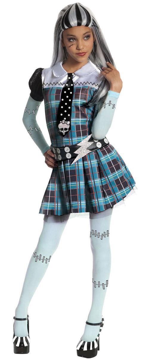 Карнавальный костюм для девочки Rubies Френки Штейн, цвет: черный, синий, светло-зеленый. Н89158. Размер 116, 5-6 летН89159Карнавальный костюм для девочки Rubies Френки Штейн позволит вашему ребенку быть самым интересным и ярким персонажем на утреннике, бале-маскараде или карнавале. Френки Штейн - дружелюбная и авторитетная ученица Школы Монстров, одна из основных героинь популярного мультсериала Monster High. Детализированный костюм состоит из платья с галстуком, колготок и ремня, выполненных из полиэстера. Платье с длинными рукавами-фонариками и отложным воротником застегивается по спинке на длинную молнию. Модель оформлена принтом в клетку. От слегка заниженной линии талии заложены складочки, придающие изделию пышность. Низ юбки дополнен слоем из микросетки. Ремень застегивается на липучки, декорирован принтом, имитирующем блестящие клепки. Галстук на платье оформлен принтом в горох и украшен декоративным элементом в виде черепа. Такой костюм непременно понравится маленьким поклонницам мультфильма, в нем веселое настроение и масса положительных эмоций будут обеспечены! ...