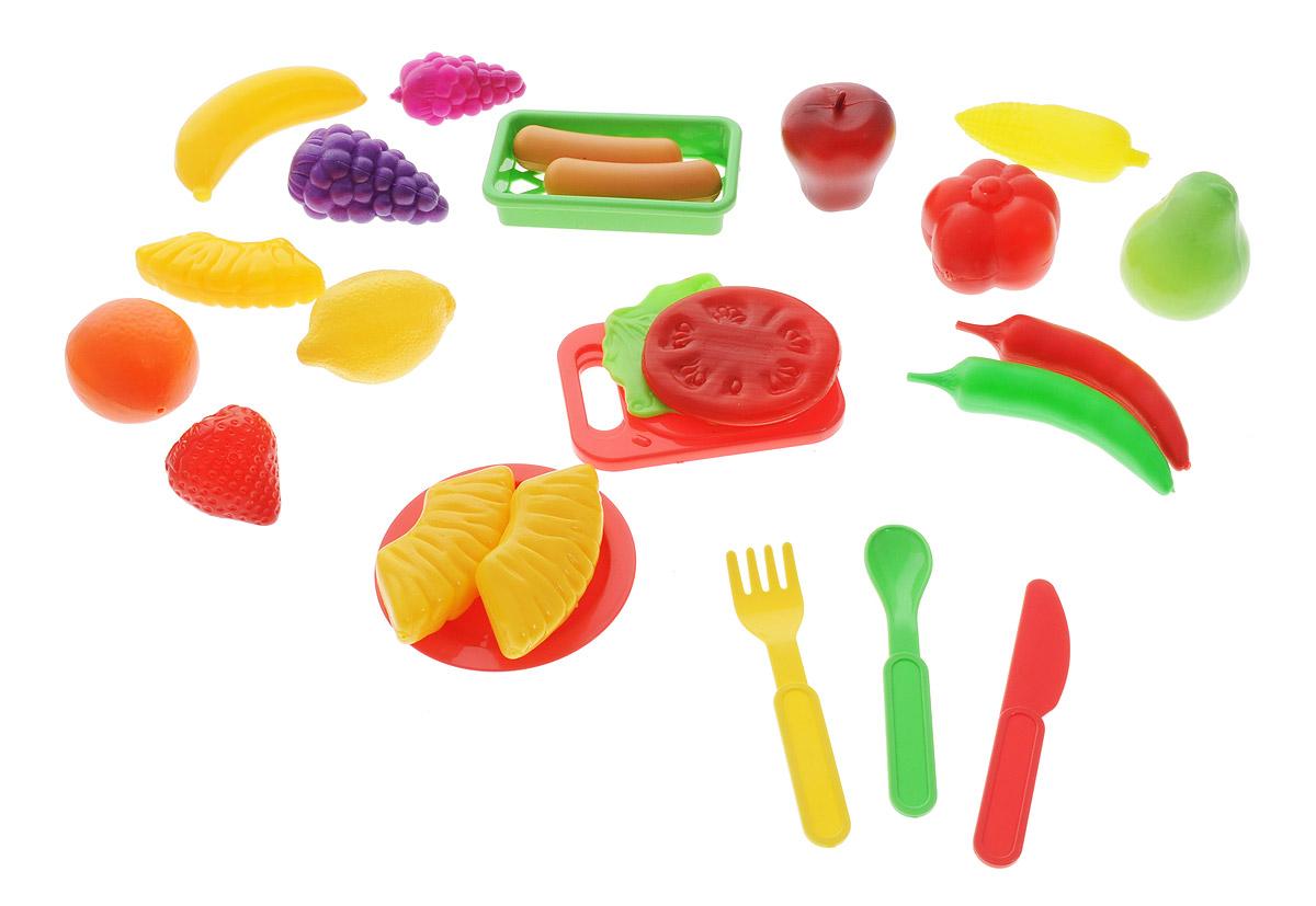 ABtoys Игрушечный набор продуктов 24 предметаPT-00149В игрушечный набор продуктов ABtoys входят безопасный игрушечный ножик, разделочная доска, тарелка, ложка, вилка и различные муляжи продуктов. Все элементы набора выполнены из безопасного для ребенка материала и выполнены максимально реалистично. Эта реалистичность, несомненно, вызовет восторг у девочки, и разнообразит ее игры. С таким дополнением к детской кухне, девочка станет самой настоящей маленькой хозяюшкой, и с удовольствием накормит обедом своих кукол. Набор не содержит мелких деталей, поэтому ребенок может играть с ним и дома, и на улице, не боясь потерять, что-либо.