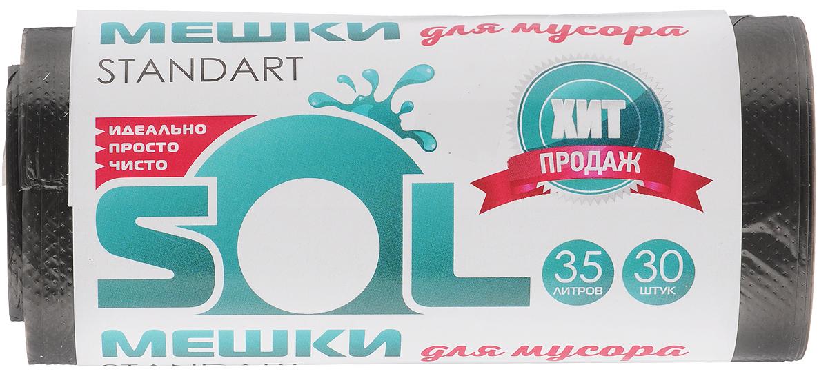 Мешки для мусора Sol, 35 л, 30 шт10018_новый дизайнМешки для мусора Sol, выполненные из полиэтилена, обеспечивают чистоту и гигиену в квартире. Они удобны для сбора и удаления мусора, занимают мало места, практичны в использовании. Широко применяются в быту и на производстве. Комплектация: 30 шт. Объем мешков: 35 л.