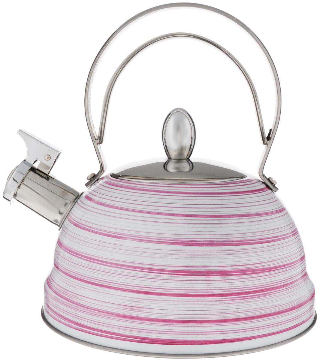 Чайник Mayer & Boch, со свистком, цвет: белый, розовый, стальной, 2,8 л. 2142021420_розовыйЧайник Mayer & Boch выполнен из высококачественной нержавеющей стали, что делает его весьма гигиеничным и устойчивым к износу при длительном использовании. Капсулированное дно с прослойкой из алюминия обеспечивает наилучшее распределение тепла. Носик чайника оснащен насадкой-свистком, звуковой сигнал которого подскажет, когда закипит вода. Фиксированная ручка из нержавеющей стали, делает использование чайника очень удобным и безопасным. Поверхность чайника гладкая, что облегчает уход за ним. Эстетичный и функциональный, с эксклюзивным дизайном, чайник будет оригинально смотреться в любом интерьере. Подходит для всех типов плит, включая индукционные. Можно мыть в посудомоечной машине. Высота чайника (без учета ручки и крышки): 10,5 см. Высота чайника (с учетом ручки и крышки): 23 см. Диаметр чайника (по верхнему краю): 10 см.