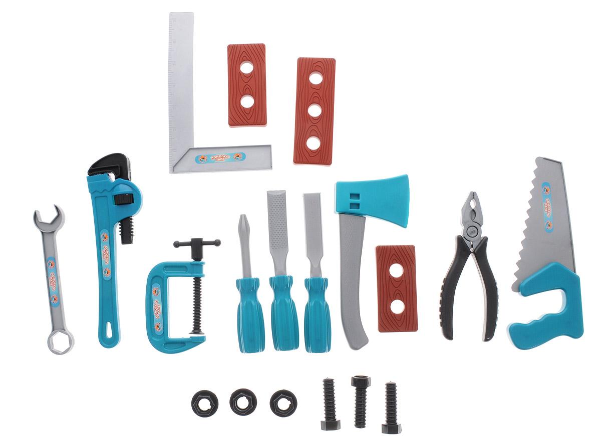 ABtoys Игрушечный набор инструментов цвет бирюзовый серый 19 предметовPT-00347Игрушечный набор инструментов ABtoys - отличный способ научить мальчика с самого детства быть хозяином в доме. Детский набор инструментов поможет малышу безопасно познакомиться с различными видами инструментов, приобрести первые навыки работы с ними, почувствовать себя настоящим маленьким мастером. Набор выполнен из высококачественного пластика и включает в себя копии реальных 19 инструментов. Набор инструментов поможет мальчику с детства научиться быть хозяином в доме и выполнять мужскую работу. Порадуйте своего юного строителя таким замечательным подарком!