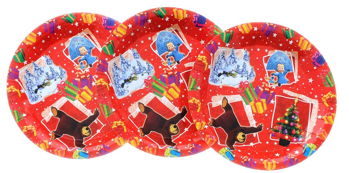 Маша и Медведь Набор одноразовых тарелок Новый год диаметр 18 см 6 шт18767_красныйОдноразовые тарелки прочно вошли в современную жизнь, и теперь многие люди просто не представляют праздник или пикник без таких нужных вещей: они почти невесомы, не могут разбиться и не нуждаются в мытье. Набор одноразовых тарелок Маша и Медведь Новый год состоит из 6 тарелок, 3 красных и 3 зеленых, выполненных из картона. Изделия декорированы изображением героев популярного мультсериала Маша и Медведь. Благодаря глянцевому ламинированию они прекрасно справляются со своей задачей: удерживают еду, не промокают и не протекают.