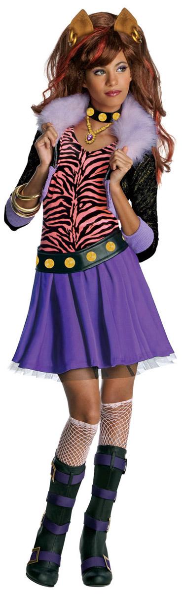Карнавальный костюм для девочки Rubies Клодин Вульф, цвет: сиреневый, черный, персиковый. Н89160. Размер 104, 3-4 годаН8916Карнавальный костюм для девочки Rubies Клодин Вульф позволит вашему ребенку быть самым интересным и ярким персонажем на утреннике, бале-маскараде или карнавале. Клодин Вульф - ученица Школы Монстров из популярного мультсериала Monster High, она уверенная, энергичная и яркая модница, умеет выделиться из толпы. Детализированный костюм состоит из юбочки, жакета с топом, ремня и украшения на шею, выполненных из полиэстера. Короткий жакет из блестящей ткани дополнен вшитым топом. Воротник декорирован искусственным мехом. Топ свободного кроя украшает двойная оборка на груди. На юбке предусмотрен широкий эластичный пояс, благодаря которому модель не сдавливает животик и не сползает. От линии талии заложены мелкие складочки, придающие изделию пышность. Низ юбки дополнен слоем из микросетки. Ремень и украшение на шею застегиваются на липучки, декорированы принтом с изображением блестящих клепок. В таком костюме веселое настроение и масса положительных эмоций будут...