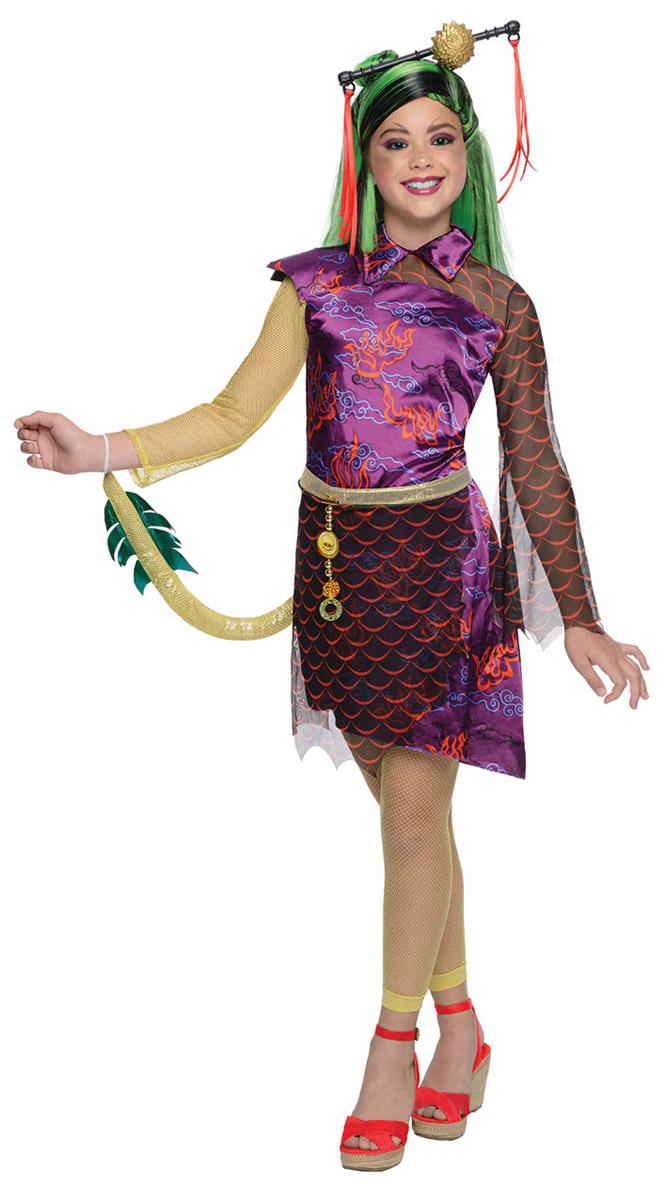Карнавальный костюм для девочки Rubies Дженифер Лонг, цвет: фиолетовый, оранжевый, желтый. Н89164. Размер 116, 5-6 летН89164Карнавальный костюм для девочки Rubies Дженифер Лонг позволит вашему ребенку быть самым интересным и ярким персонажем на утреннике, бале-маскараде или карнавале. Дженифер Лонг - ученица Школы Монстров, девушка с характером может взорвать атмосферу в любой компании. В дружбе она предана и способна на пожертвование ради других. Дочь Огненного Дракона просто излучает теплоту и сеет вокруг себя все доброе и светлое. Детализированный костюм включает в себя платье с хвостом и леггинсы, выполненные из полиэстера. Платье с длинными рукавами и отложным воротником застегивается по спинке на липучки. Модель декорирована вшитой юбочкой из мягкой микросетки, которая застегивается сзади на липучки. Укороченные леггинсы на поясе имеют мягкую эластичную резинку. Платье дополнено съемным хвостом и украшено декоративным элементом в виде металлической подвески. Такой костюм непременно понравится маленьким поклонницам мультфильма, в нем веселое настроение и масса...