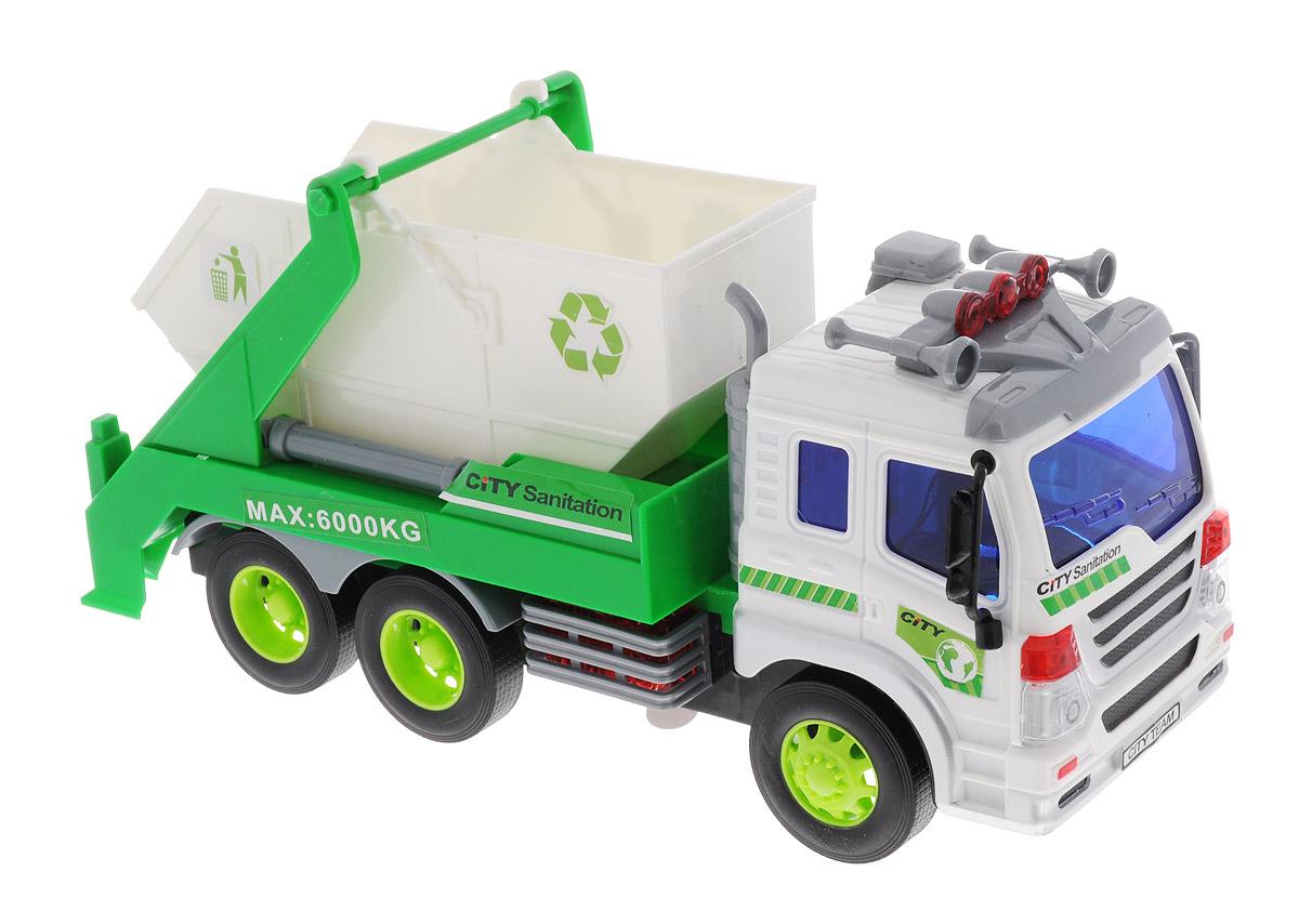 Dave Toys Мусоровоз с контейнером инерционный33026Инерционный мусоровоз Dave Toys - это яркая машина, которая порадует любого мальчишку. Игрушка отлично подойдет для сюжетно-ролевых игр. Машина является уменьшенной копией настоящего мусоровоза. Мусоровоз предназначен для перевозки игрушечного мусора. Для этого у него имеется подвижный контейнер, на который нанесены специальные отличающие знаки. Кабина водителя окрашена в белый цвет, а рядом с дверью можно найти кнопку, отвечающую за звуковые и световые эффекты. Благодаря встроенной инерционной системе машина может проехать некоторое расстояние самостоятельно. Ваш ребенок будет увлеченно играть с этой машинкой, придумывая различные истории. Порадуйте его таким замечательным подарком! Рекомендуется докупить 3 батарейки напряжением 1,5V типа AG13 (товар комплектуется демонстрационными).