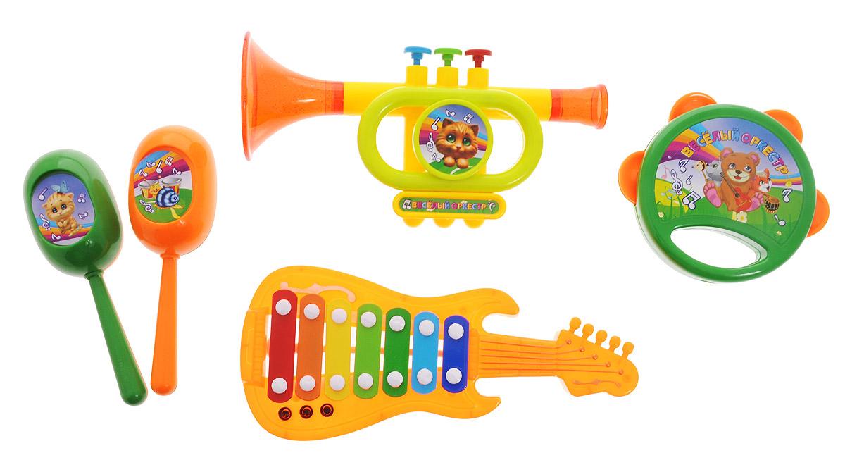 ABtoys Набор музыкальных инструментов Веселый оркестр 5 предметовD-00046Набор музыкальных инструментов ABtoys Веселый оркестр привлечет внимание вашего ребенка и позволит ему создать незабываемый концерт. Набор включает в себя бубен, трубу, гитару, 2 маракаса. Предметы набора выполнены в яркой цветовой гамме из прочного пластика и оформлены изображениями забавных зверей. Малыш сможет часами играть с набором и придумывать свои веселые мелодии. Порадуйте его таким замечательным подарком!