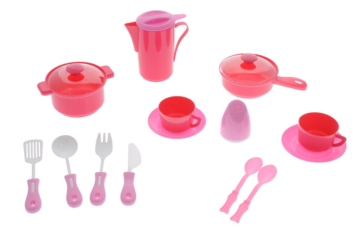 ABtoys Игрушечный кухонный набор цвет темно-розовый 14 предметовPT-00326Игрушечный кухонный набор ABtoys прекрасно подойдет ребенку для веселых игр. Набор включает в себя посуду, которая находится на любой кухне. Предметы набора выполнены из высококлассного и безопасного пластика. В состав набора входят кастрюля с крышкой, сковорода с крышкой, солонка, кофейник, 2 чашки, 2 блюдца и столовые приборы. Такой набор станет прекрасным дополнением к игровой ситуации с приглашением гостей.