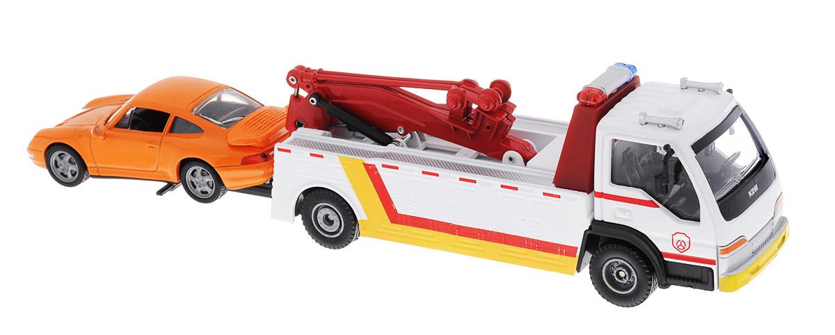 ABtoys Эвакуатор с легковым автомобилемC-00152Эвакуатор ABtoys непременно понравится вашему ребенку. В комплект к эвакуатору входит легковой автомобиль. Эвакуатор имеет откидной бриль, благодаря чему автомобиль будет проще грузить. Прорезиненные колеса эвакуатора обеспечивают надежное сцепление с любой поверхностью. Игрушка может стать достойным пополнением коллекции моделей машин спецтехники. Ваш ребенок будет увлеченно играть с набором, придумывая различные истории. Порадуйте его таким замечательным подарком!