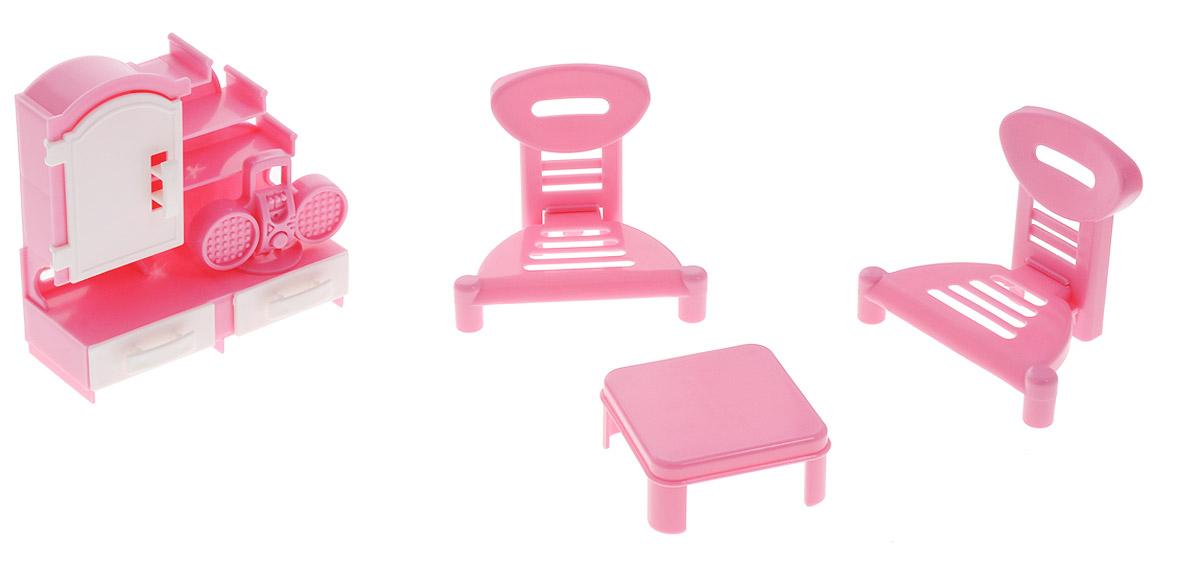 Форма Мебель для кукол ГостинаяС-49-ФМебель для кукол Форма Гостиная - отличное место, где могут собираться, принимать гостей и вести беседы куклы девочек. Набор, выполненный из полипропилена розового цвета, надолго займет внимание вашей малышки. Набор включает в себя сервант, журнальный столик, два стула и магнитолу. Такой набор подойдет небольшим куколкам вашей малышки. Порадуйте свою принцессу таким замечательным подарком!