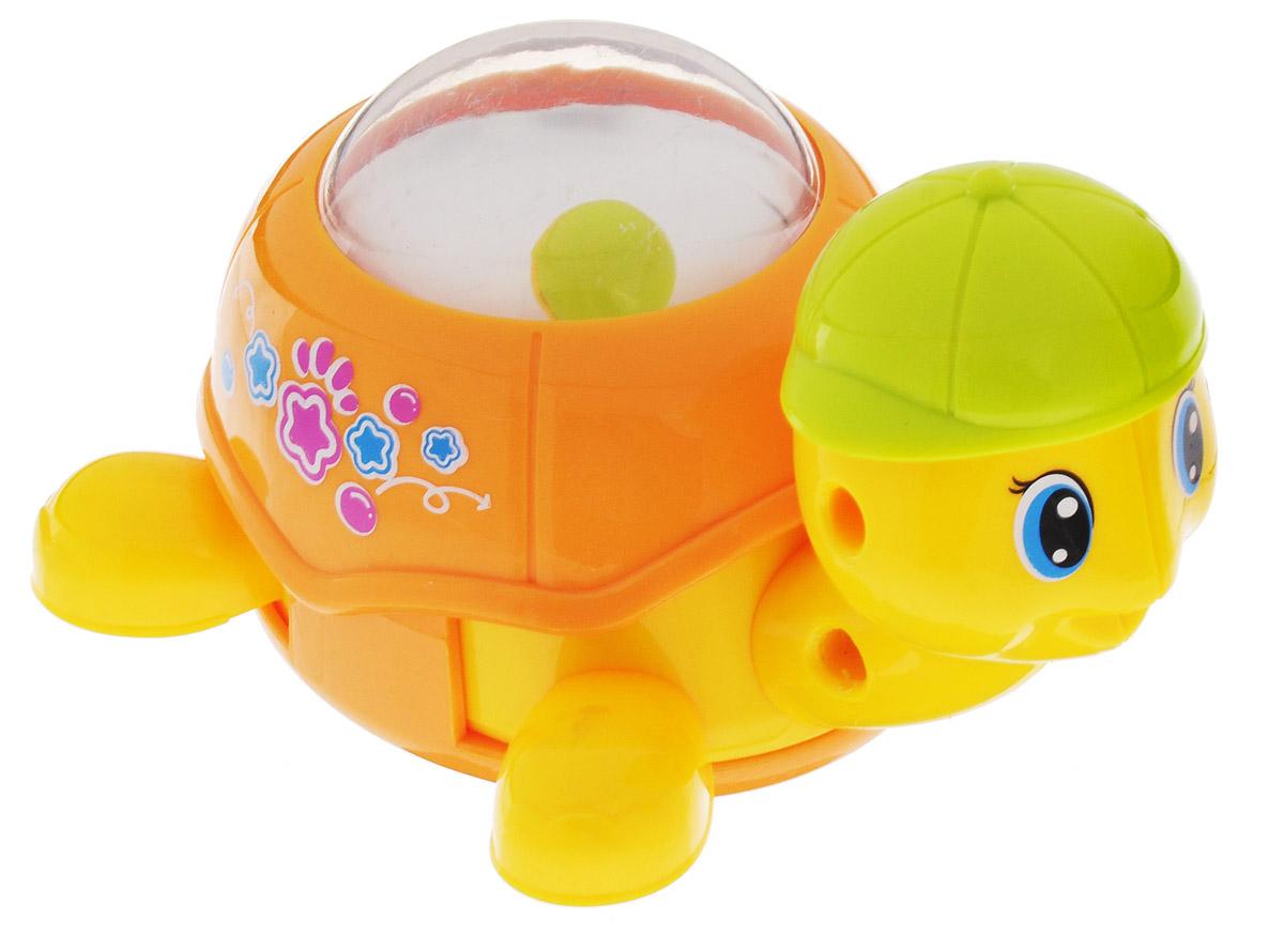 Huile Toys Заводная Машинка-зверюшка Черепашка цвет оранжевый559_оранжевыйЗаводная машинка-зверюшка Huile Toys Черепашка привлечет внимание вашего малыша и не позволит ему скучать! Выполненная из безопасного пластика с металлическими элементами, игрушка представляет собой забавную черепашку в бейсболке. Для запуска игрушки, придерживая колеса, поверните заводной ключ по часовой стрелке до упора. Установите игрушку на ровную поверхность - она поедет вперед. В панцире черепашки находится прозрачная сфера с шариком. Игра с заводными игрушками способствует приятному времяпрепровождению, стимулирует ребенка к активным действиям, обучает устанавливать причинно-следственные связи. Игрушка помогает развитию тактильных ощущений и моторики пальчиков, а яркие цвета и забавные формы стимулируют зрение.