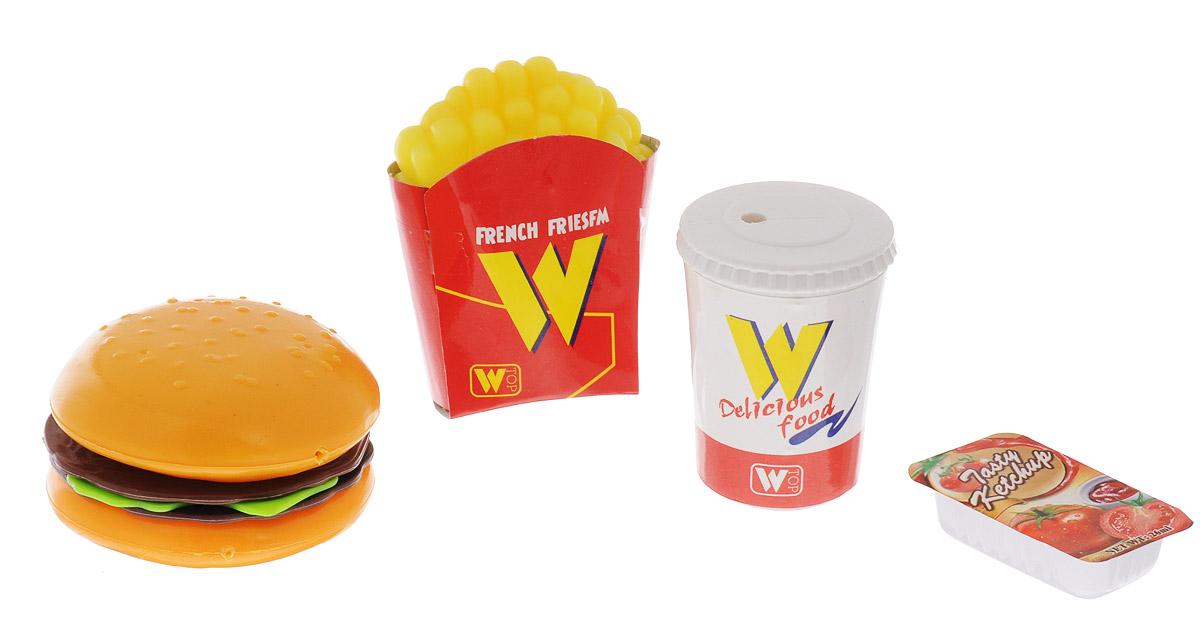Junfa Toys Игрушечный набор продуктов French FriesfmH226-19Игрушечный набор продуктов Junfa Toys French Friesfm - это замечательный игровой набор, состоящий из гамбургера, картошки фри, баночки с кетчупом и стакана с колой. Играя с ним, ребенок сможет представить себя настоящим поваром или же клиентом, заказавшим стандартный набор еды. Сюжетов можно придумать огромное множество, все зависит от фантазии и воображения ребенка. Набор выполнен из качественных и безопасных материалов.