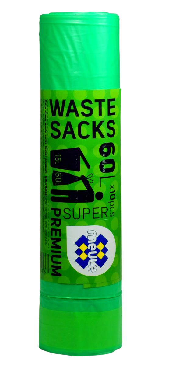 Мешки для мусора Meule Super Premium, с завязками, цвет: зеленый, 60 л, 10 шт46071310664607131066 Meule (WASTE SACKS) SUPER PREMIUM 60L X10шт. Мешки для мусора с завязками(зеленые) 1x30шт