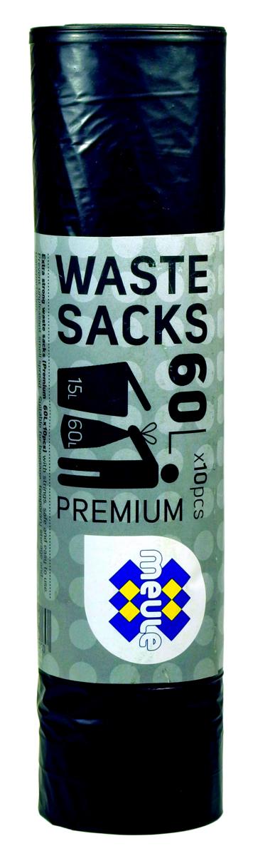 Мешки для мусора Meule Premium, с завязками, цвет: черный, 60 л, 10 шт46071310804607131080 Meule (WASTE SACKS) PREMIUM 60L X10шт. Мешки для мусора с завязками(черные) 1x30шт