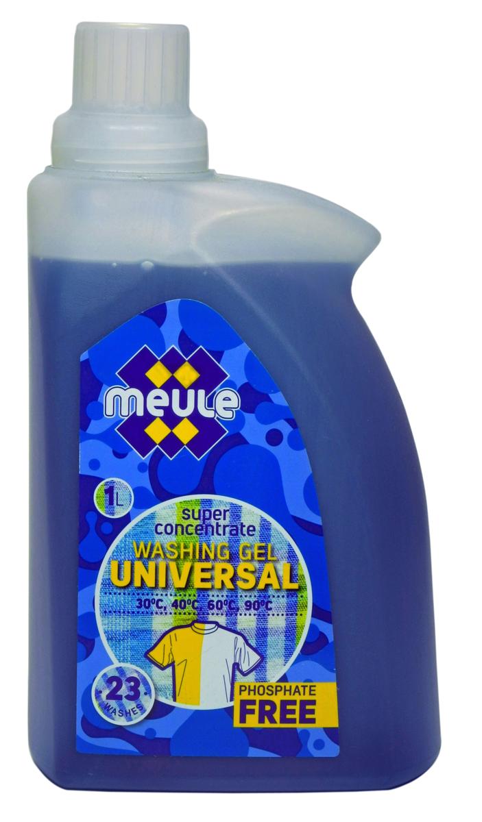 Гель для стирки Meule, концентрат, 1 л7290701370608Meule Gel Universal 1 л(23 стирки) - Концентрированный универсальный гель для стирки. Подходит для машинной и ручной стирки в жесткой и мягкой воде . Обладает высокой моющей способностью, эффективно удаляет пятна и загрязнения, сохраняя структуру ткани. Препятствует образованию ворсистости (катышков) на одежде. Рекомендуется использовать при температурах от 30 до 90С. Предотвращает образование накипи. Полностью выполаскивается.