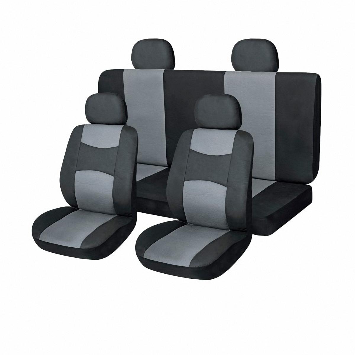 Чехлы автомобильные Skyway. SW-101046 BK/GY S/S01301013SW-101046 BK/GY S/S01301013Комплект классических универсальных автомобильных чехлов Skyway изготовлен из искусственной кожи. Чехлы защитят обивку сидений от вытирания и выцветания. Благодаря структуре ткани, обеспечивается улучшенная вентиляция кресел, что позволяет сделать более комфортными долгое пребывание за рулем во время дальней поездки.