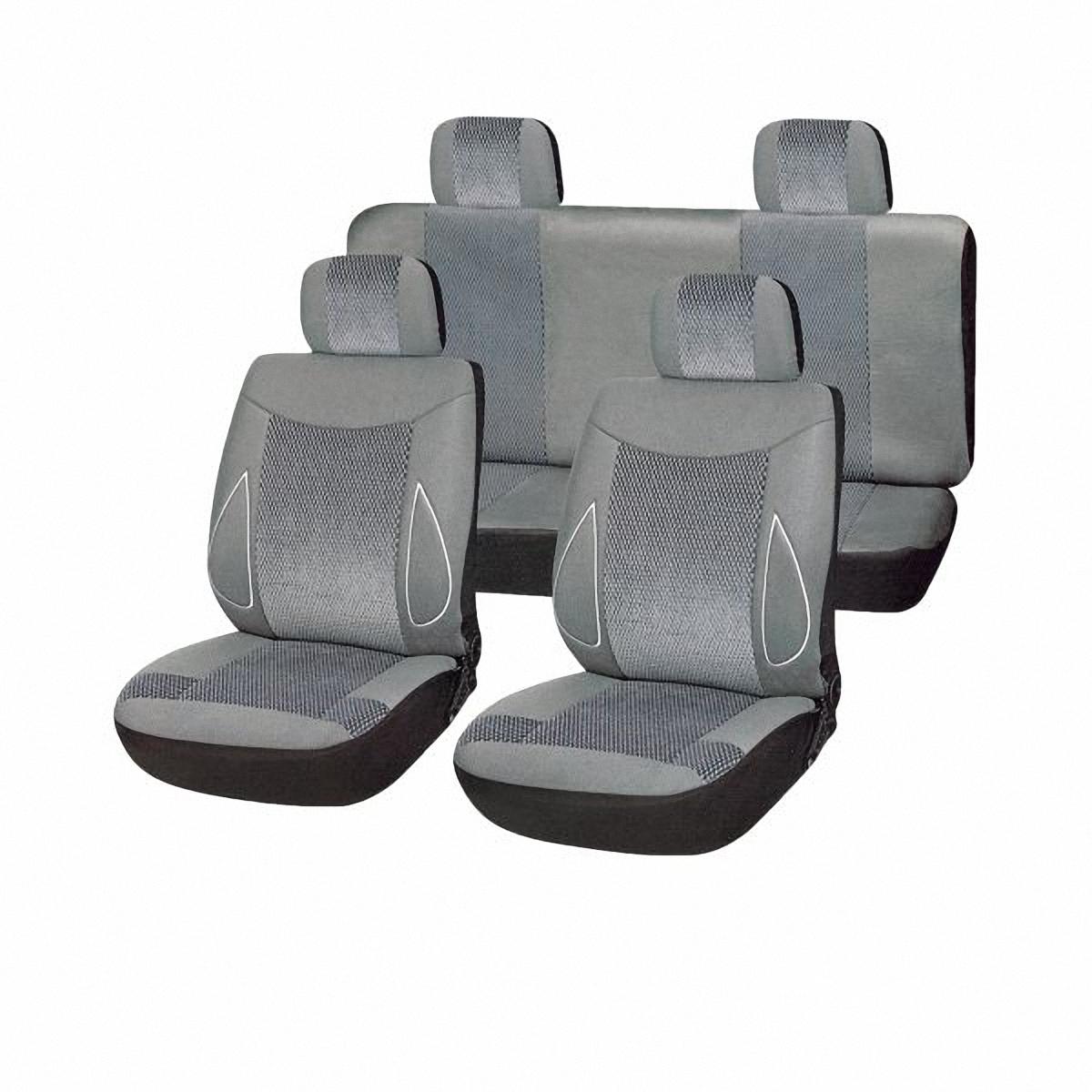 Чехлы автомобильные Skyway. SW-101083 GY/S01301002SW-101083 GY/S01301002Комплект классических универсальных автомобильных чехлов Skyway изготовлен из велюра. Чехлы защитят обивку сидений от вытирания и выцветания. Благодаря структуре ткани, обеспечивается улучшенная вентиляция кресел, что позволяет сделать более комфортными долгое пребывание за рулем во время дальней поездки.