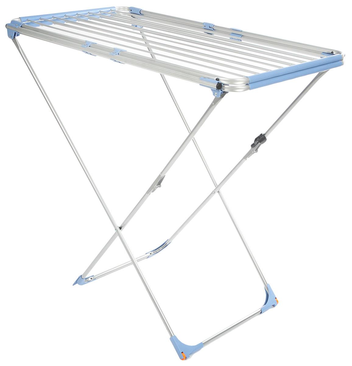 Сушилка для белья Gimi Duo Alu, напольная, цвет: голубой, стальной10790040_голубой, синийНапольная сушилка для белья Gimi Duo Alu, изготовленная из стали, проста и удобна в использовании. Идеально подходит для любых помещений. Сушилка оснащена стальными рейками. С помощью телескопических направляющих может раздвигаться, что позволяет свободно развесить как большие простыни, так и белье небольшого размера. Защитные уголки на ножках предотвратят появление царапин на полу. Сушилка для белья легко складывается и в таком состоянии занимает мало места, потому вам легко будет убрать ее в любое удобное для вас место. Минимальная длина сушилки: 105 см. Максимальная длина сушилки: 209 см. Ширина сушилки: 60 см. Высота сушилки: 97 см. Общая длина реек: 22 м.