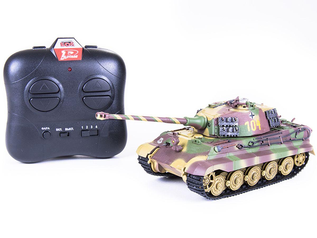 Pilotage Танк на инфакрасном управлении King Tiger 104RC8349Танк на радиоуправлении Pilotage King Tiger 104 выполнен в масштабе 1/48. 26 мая 1941 состоялось заседание с участием Гитлера. Участники встречи обсуждали создание нового тяжёлого танка Tiger II. Cоздание танка поручили Porsche и Henschel. Первые Tiger II поступили в войска в феврале 1944, а первое боевое применение состоялось под Минском в мае 1944 и под польским городом Сандомир в июле 1944. Королевский Тигр при своём большом весе был очень манёвренной машиной, а управление им не требовало чрезмерных физических усилий. Tiger II поступали на вооружение только тяжёлых танковых батальонов Армии и SS. Королевские Тигры воевали на Восточном и Западном фронтах и добыли у оппонентов славу очень опасного противника. Эти танки стали своеобразными символами немецкой танковой мощи и участвовали в боях до последних дней войны. Эта модель оборудована звуковой имитацией работы двигателя, выстрела пулемета и пушки. Модель способна повторять все движения прототипа, вплоть до...