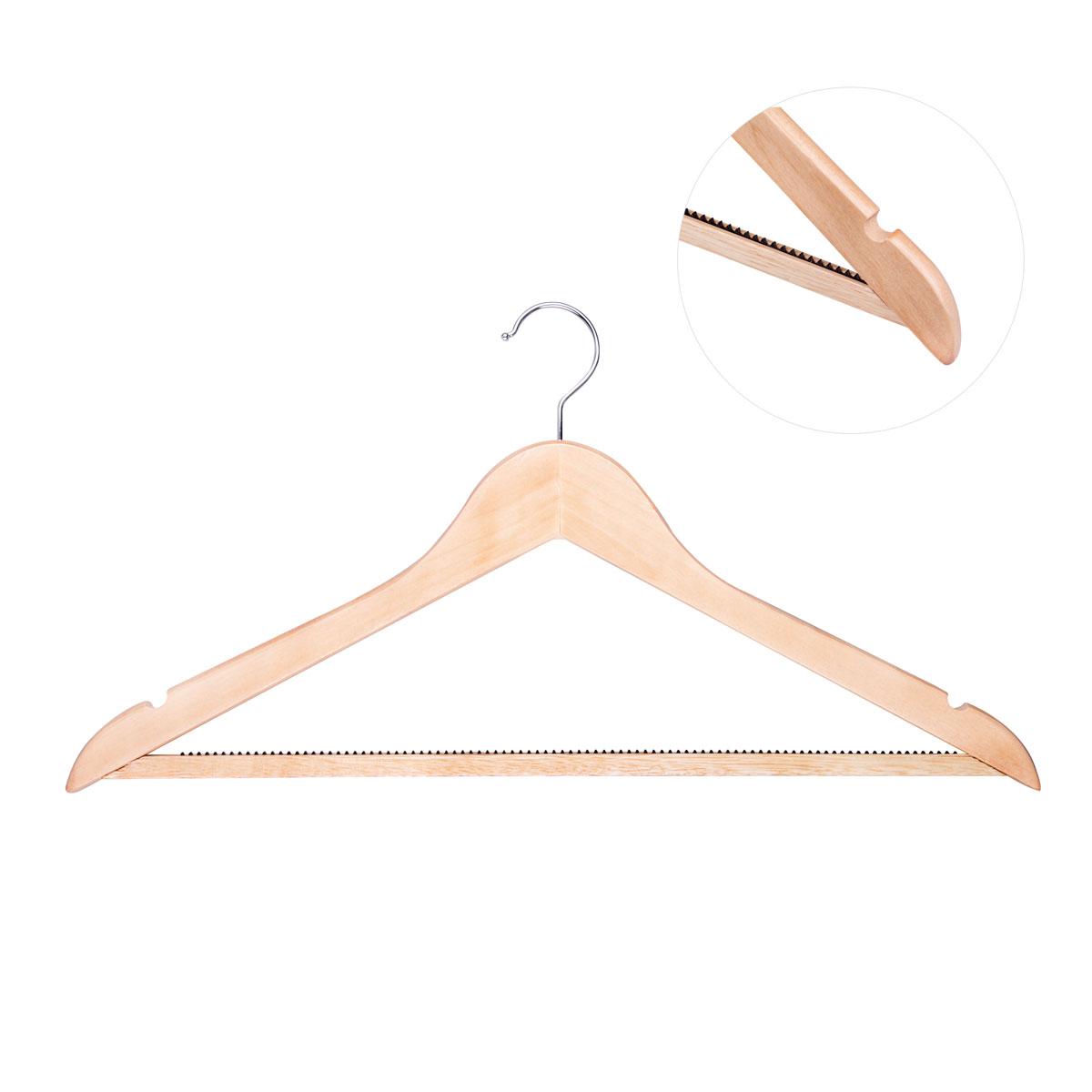 Вешалка для одежды Miolla, изогнутая, 44,5 х 23 х 1,2 см2511005Универсальная вешалка для одежды Miolla выполнена из прочного дерева. Изделие оснащено перекладиной и двумя крючками. Пластиковые зубчики на перекладине предотвращают скольжение. Вешалка - это незаменимая вещь для того, чтобы ваша одежда всегда оставалась в хорошем состоянии.