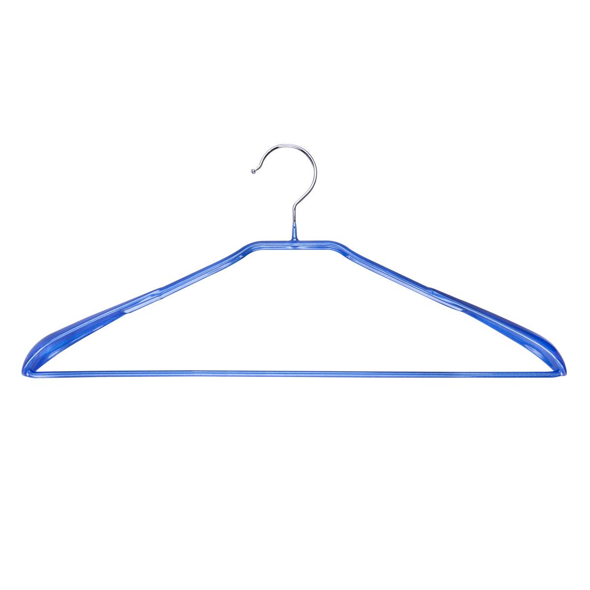 Вешалка для одежды Miolla, с расширенными плечиками, цвет: синий, 42 х 19 х 3,5 см2511017TBУниверсальная вешалка для одежды Miolla выполнена из прочной стали. Специальное резиновое покрытие предотвращает соскальзывание одежды. Изделие оснащено перекладиной для брюк и расширенными плечиками. Вешалка - это незаменимая вещь для того, чтобы ваша одежда всегда оставалась в хорошем состоянии.