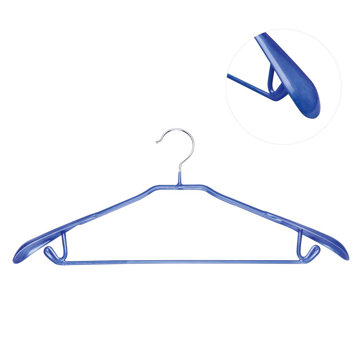 Вешалка для брюк Miolla, цвет: синий, длина 43 см2511046 TBВешалка для брюк Miolla выполнена из металла с покрытием синего цвета. Крючки вешалки прорезинены, что исключает случайное повреждение одежды. Вешалка Miolla станет практичным и полезным аксессуаром в вашем гардеробе. Длина: 43 см.