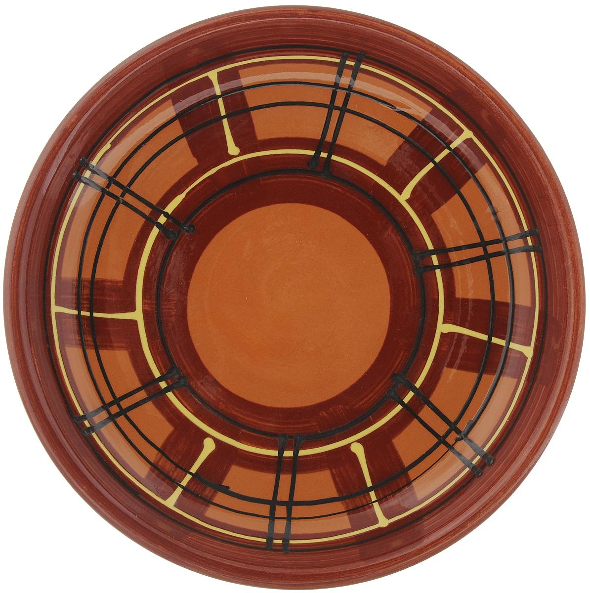 Тарелка Борисовская керамика Cтандарт, диаметр 18 смОБЧ00000454_коричневый, полосыТарелка Борисовская керамика Cтандарт выполнена из высококачественной керамики с покрытием пищевой глазурью. Изделие отлично подходит для подачи вторых блюд, сервировки нарезок, закусок, овощей и фруктов. Такая тарелка отлично подойдет для повседневного использования. Она прекрасно впишется в интерьер вашей кухни. Посуда термостойкая, можно использовать в духовке и в микроволновой печи. Диаметр тарелки (по верхнему краю): 18 см. Высота стенки: 3 см.