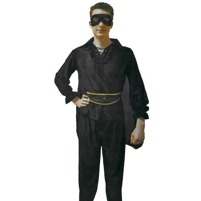 Маскарадный костюм Зорро. 2641026410У вас намечается маскарад или веселая вечеринка? Маскарадный костюм Зорро, выполненный из полиэстера черного цвета, идеально подойдет для подобного мероприятия. Костюм состоит из рубашки с плащом, брюк, пояса и маски. Костюм привлечет к вам внимание и не оставит незаметным среди остальных героев праздника. В таком костюме веселое настроение и масса положительных эмоций вам будут обеспечены!