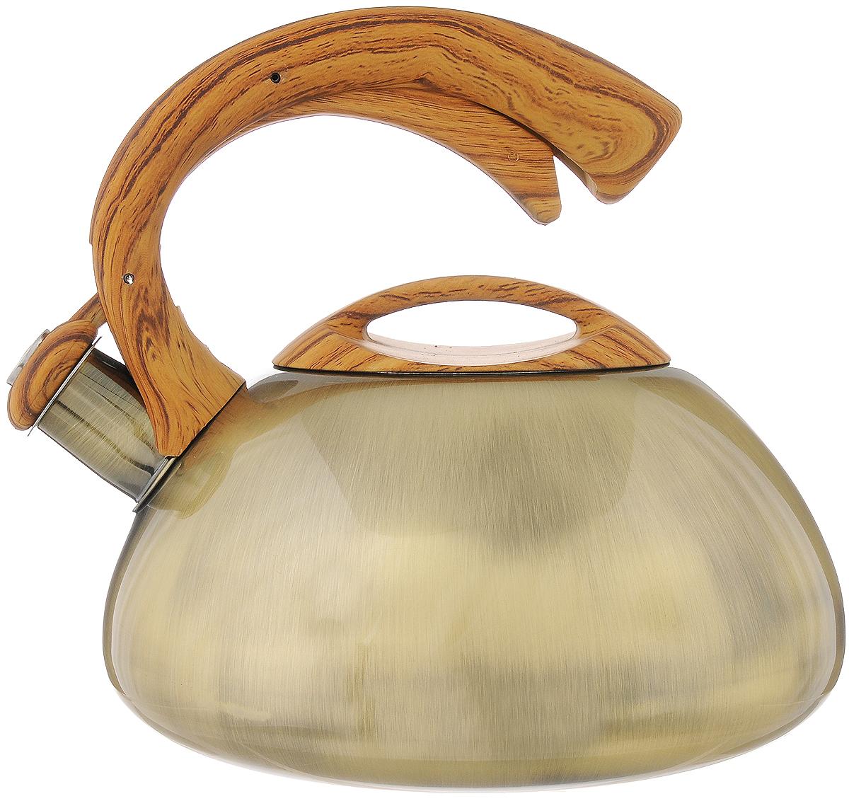 Чайник Bekker Koch со свистком, 3 л. BK-S424ВК-S424Чайник Bekker Koch изготовлен из высококачественной нержавеющей стали 18/10. Цельнометаллическое дно распределяет тепло по всей поверхности, что позволяет чайнику быстро закипать. Крышка и эргономичная фиксированная ручка выполнены под дерево из бакелита с приятным на ощупь прорезиненным покрытием. Носик оснащен откидным свистком, который подскажет, когда вода закипела. Свисток открывается и закрывается нажатием рычага на ручке. Подходит для всех типов плит, включая индукционные. Можно мыть в посудомоечной машине. Диаметр (по верхнему краю): 11 см. Диаметр основания: 22 см. Высота чайника (без учета ручки): 11 см. Высота чайника (с учетом ручки): 21 см.