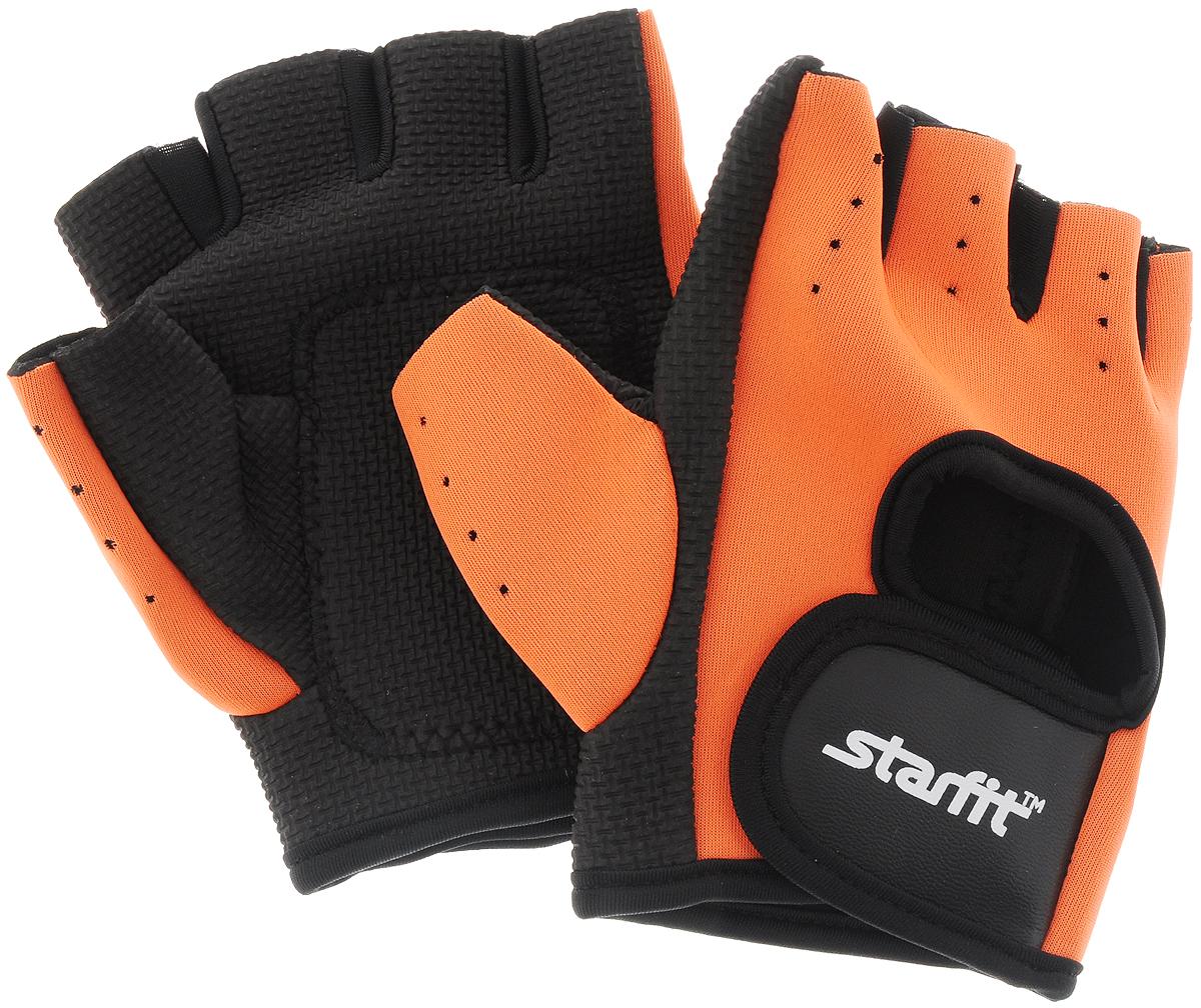 Перчатки для фитнеса Starfit SU-107, цвет: оранжевый, черный. Размер XLУТ-00008326Перчатки для фитнеса Star Fit SU-107 необходимы для безопасной тренировки со снарядами (грифы, гантели), во время подтягиваний и отжиманий. Они минимизируют риск мозолей и ссадин на ладонях. Перчатки выполнены из нейлона, искусственной кожи, полиэстера и эластана. В рабочей части имеется вставка из тонкого поролона, обеспечивающего комфорт при тренировках. Размер перчатки (без учета большого пальца): 14 х 9 см.