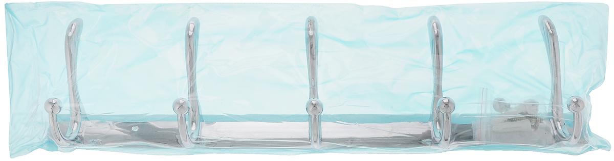 Вешалка настенная РМС, 5 крючковA5029Настенная вешалка РМС является функциональным элементом, который прекрасно украсит интерьер бани или сауны. Изделие изготовлено из высококачественного металла с хромированным покрытием и крепится с помощью шурупов (входят в комплект). Вешалка оснащена 3 двойными крючками, на которые вы сможете повесить одежду.