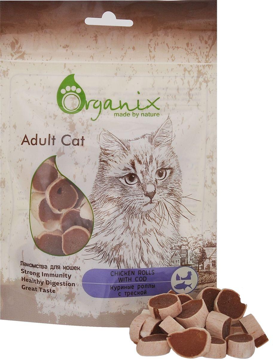 Лакомство для кошек Organix, куриные роллы с треской20576Состав: куриное филе, треска. Пищевая ценность: белки 27,7%, жиры 2,4%, зола 2,8%, клетчатка 0,6%, влажность 21%.